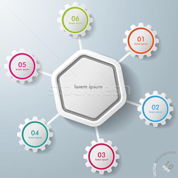Infographic Hexagon Colorful Gears Stock photo © limbi007
