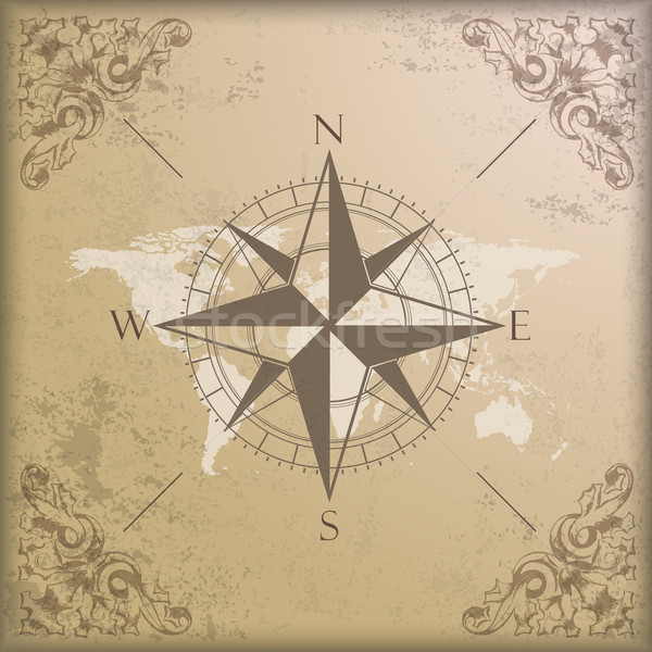 Vintage background edge ornaments compass world map vector add to lightbox download comp gumiabroncs Gallery
