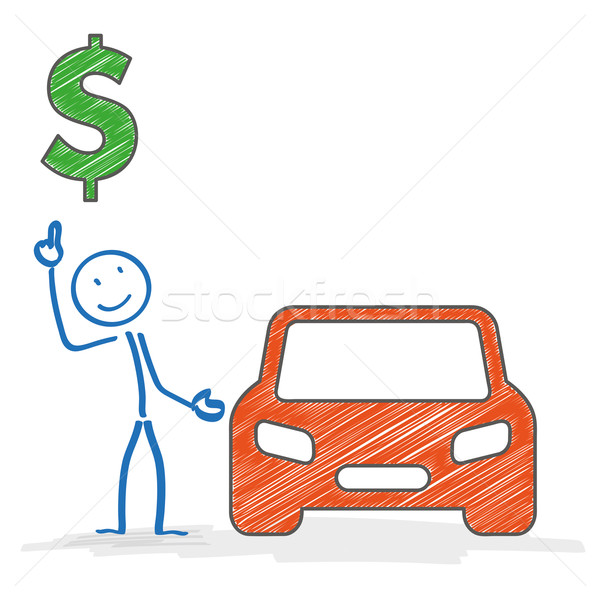 Stickman Car Dollar Stock photo © limbi007