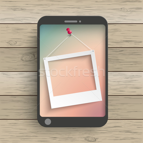 Wood Smartphone Photo Frame Thumbtack Stock photo © limbi007