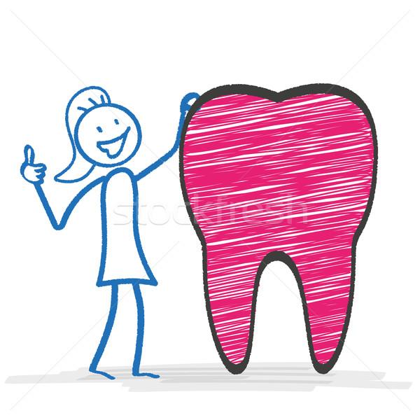 Stickwoman Tooth Ok Stock photo © limbi007