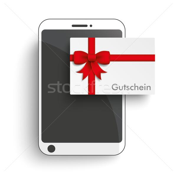 Smartphone Paper Gutschein Stock photo © limbi007