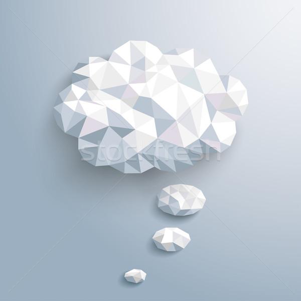 Bajo papel burbuja de pensamiento a rayas cielo azul gris Foto stock © limbi007