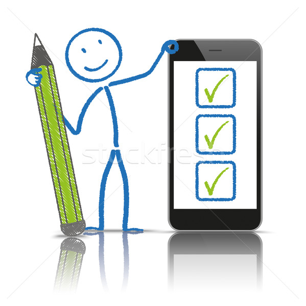 Stickman Pen Checklist Smartphone Stock photo © limbi007