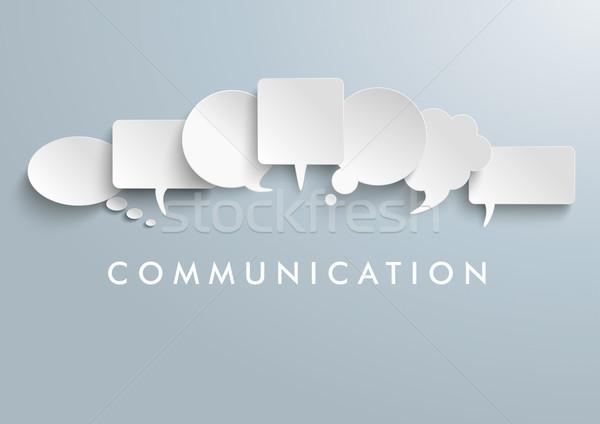 White Paper Speech Balloons Communication Stock photo © limbi007
