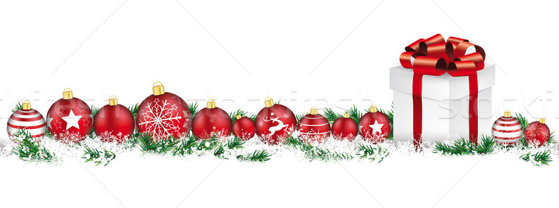 Christmas Baubles Headline Snow Banner Gift Stock photo © limbi007