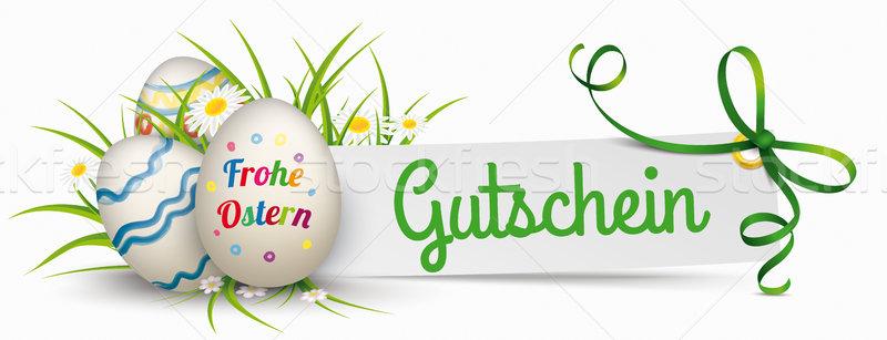 Stok fotoğraf: Kâğıt · afiş · yeşil · şerit · paskalya · yumurtası · metin