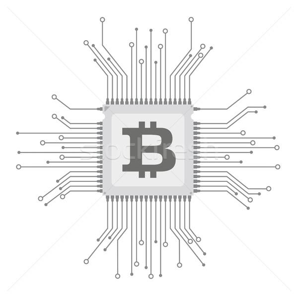 Futurisztikus processzor nyáklap bitcoin elektronikus szimbólum Stock fotó © limbi007