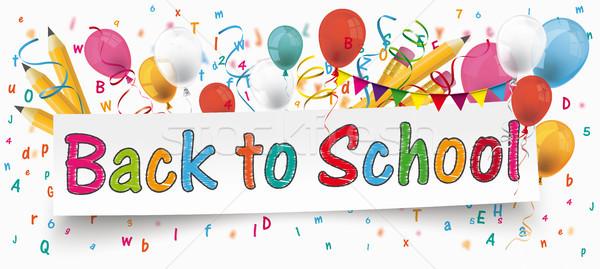 Снова в школу баннер шаров письма карандашей белый Сток-фото © limbi007