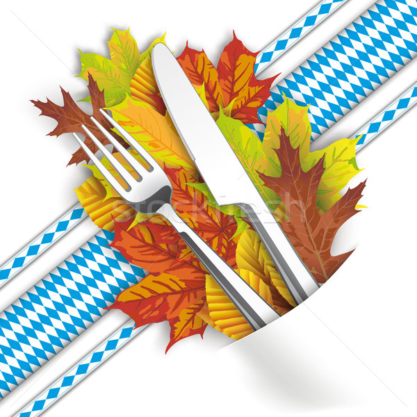 Convert Napkin Autumn Foliage Fork Knife Bavarian Ribbons Stock photo © limbi007