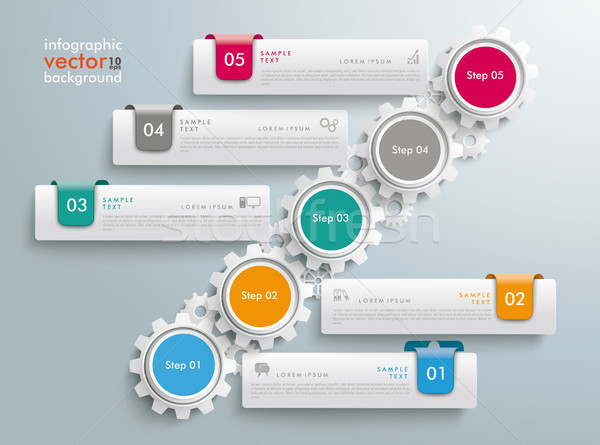 Gear Wheels Chart 5 Options 5 Tabs Infographic Stock photo © limbi007