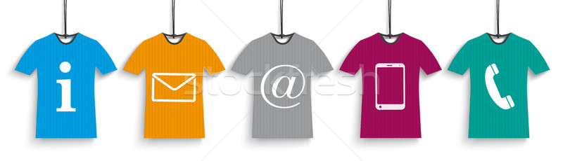 5 Colored T-Shirts Contact Us Header Stock photo © limbi007
