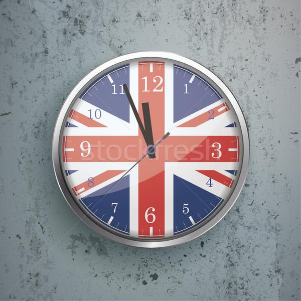 Clock Concrete UK Flag Stock photo © limbi007