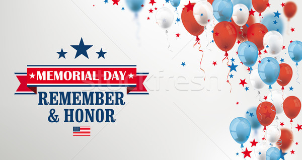 Memorial Day Balloons Stars USA Confetti Header Stock photo © limbi007