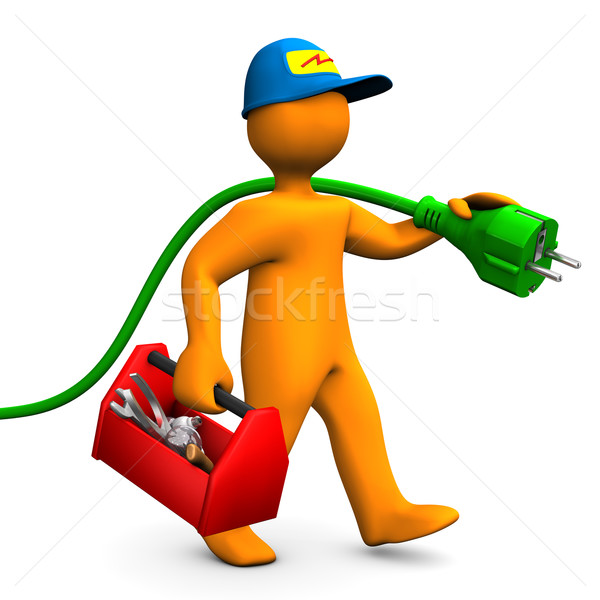 Electrician With Toolbox And Connector Stock photo © limbi007