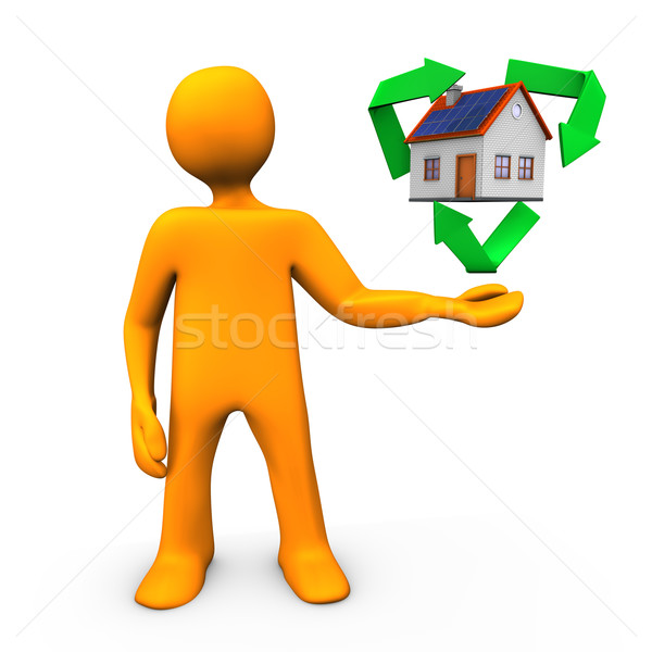 Domu recyklingu pomarańczowy symbol człowiek Zdjęcia stock © limbi007