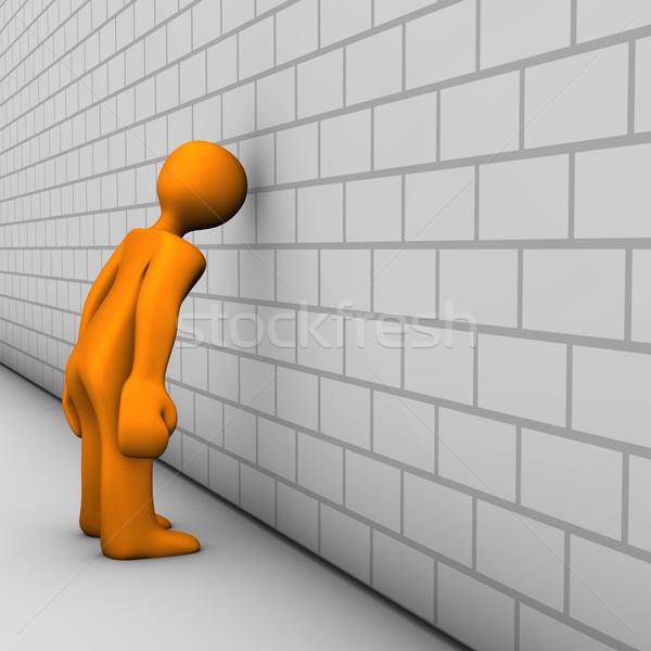 Fej narancs rajz betűk megbánás fehér Stock fotó © limbi007