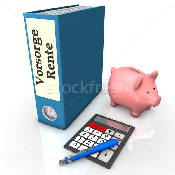 Dossier assurance pension bleu texte simulateur Photo stock © limbi007