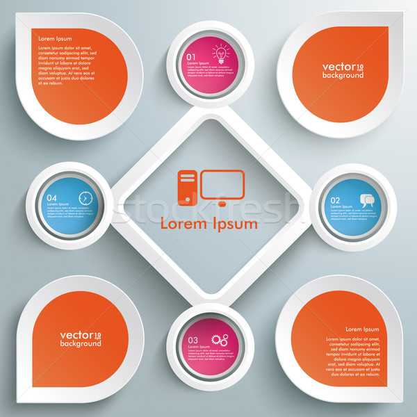 4 Circles Big Rhombus Startup Colored Infographic Stock photo © limbi007