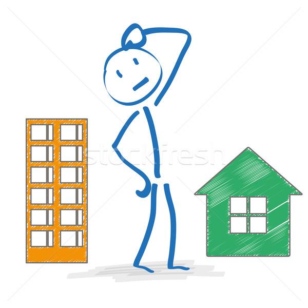 Stickman Thinking Apartment Or House Stock photo © limbi007