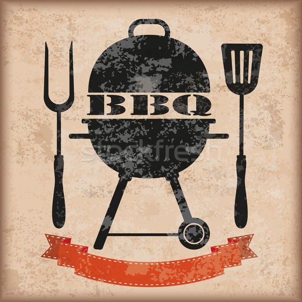 Stockfoto: Bbq · vintage · lint · vork · barbecue
