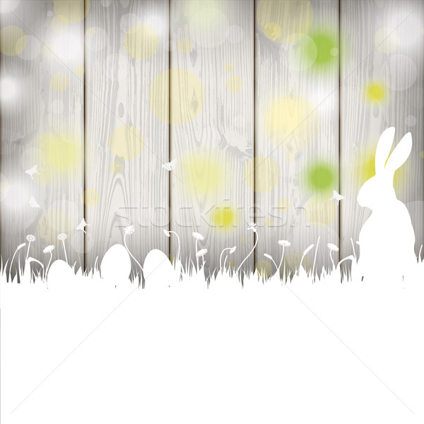 Easter Card Rabbit Wooden Wall Stock photo © limbi007