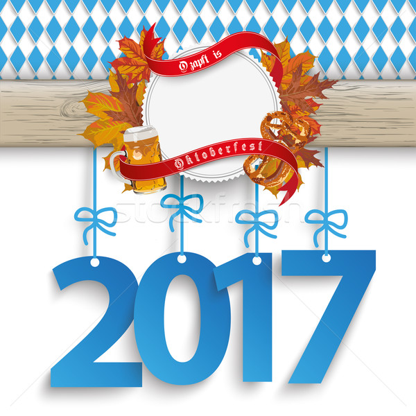 Bavarian Oktoberfest Wooden Banner Foliage 2017 Stock photo © limbi007