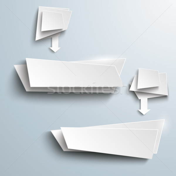 2 White Leaflet Banners With Arrows Stock photo © limbi007