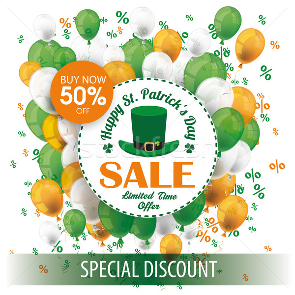 St Patricks Day Sale Circle Balloons Percents Stock photo © limbi007