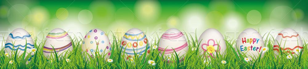 Természetes húsvéti tojások tavasz kellemes húsvétot fejléc fehér virágok Stock fotó © limbi007
