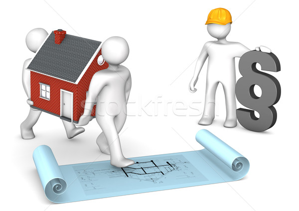 Manikins House Construction Plan Paragraph Stock photo © limbi007