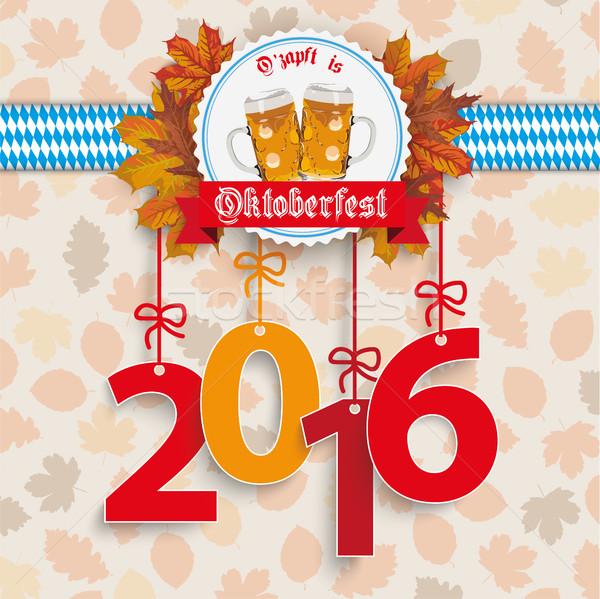 Oktoberfest 2016 Foliage Emblem Stock photo © limbi007