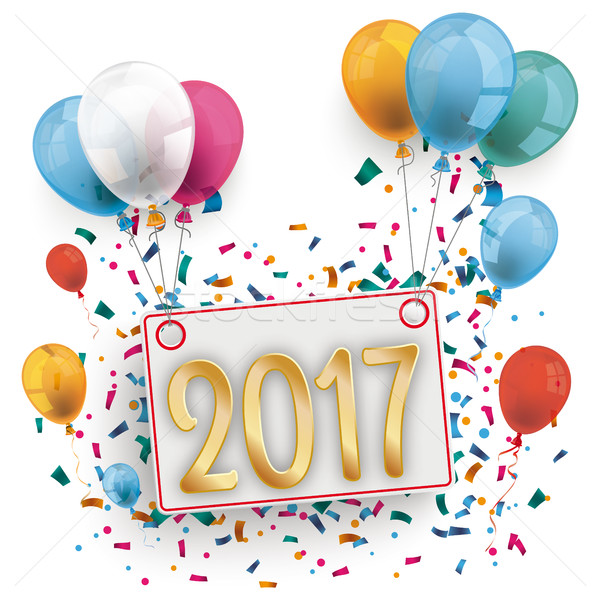 Board 2017 Colored Balloons Silvester Stock photo © limbi007