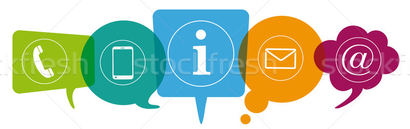 Colored Speech Bubbles Header Contact Stock photo © limbi007