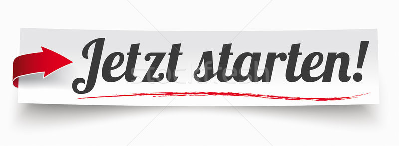 Paper Banner Red Arrow Jetzt Starten Stock photo © limbi007