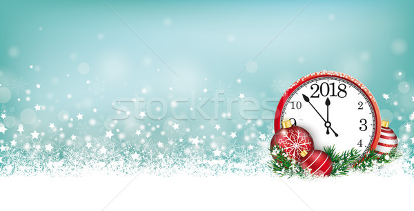 Cyan Christmas Card Header Snowflakes Clock 2018 Stock photo © limbi007