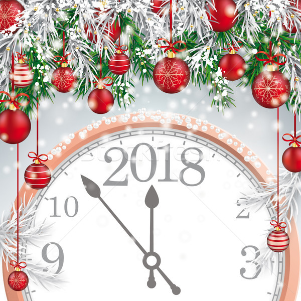 Merry Christmas Frozen Green Twigs Red Baubles Clock 2018 Stock photo © limbi007