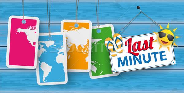 Blue Wood Price Stickers World Last Minute Stock photo © limbi007
