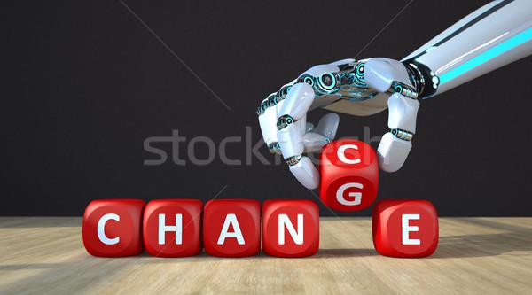 Robot Hand Cubes Change Chance Stock photo © limbi007