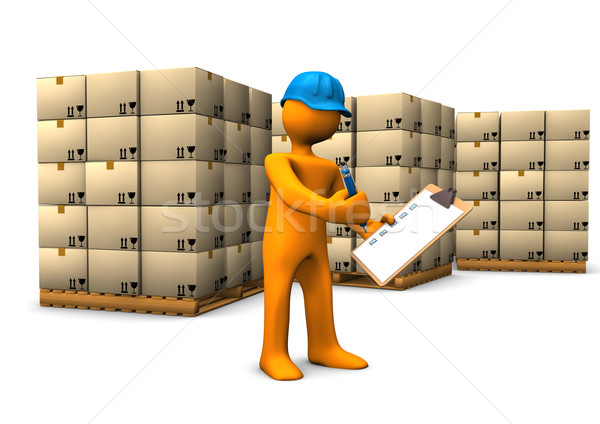 Raktár csekk narancs rajzfilmfigura vágólap épület Stock fotó © limbi007
