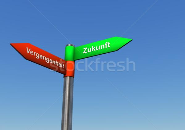 Foto stock: Futuro · passado · direção · assinar · poste · de · sinalização · dois