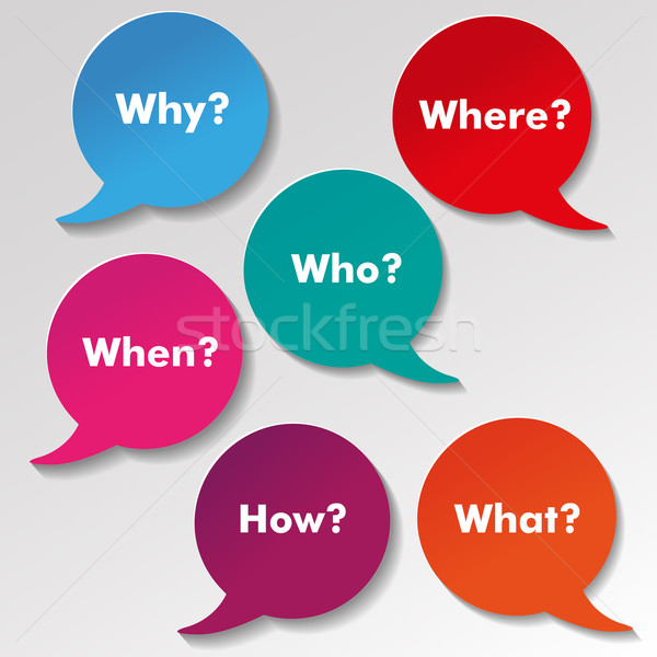 Colorful English Questions Speech Paper Labels Stock photo © limbi007
