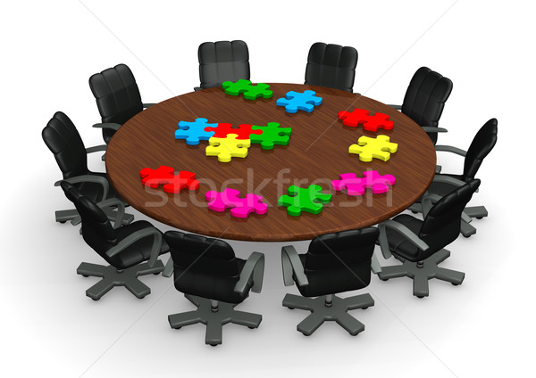 Conference Tabel Puzzles Stock photo © limbi007