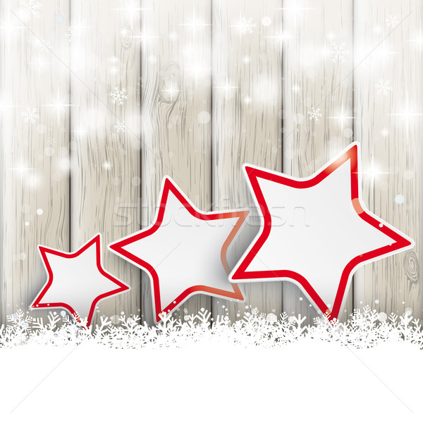 Stock photo: Snowfall Glitter 3 Stars Ash Wooden Background
