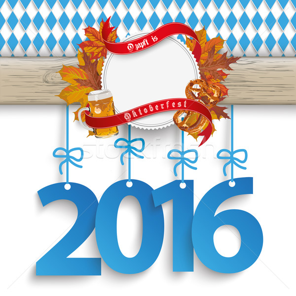 Bavarian Oktoberfest Wooden Banner Foliage 2016 Stock photo © limbi007