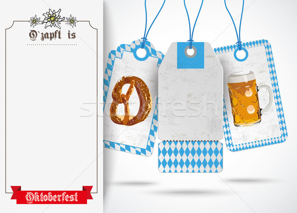 Oktoberfest Oblong Banner Ribbon Price Stickers Stock photo © limbi007