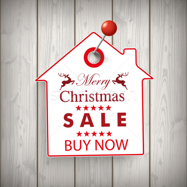 Christmas House Price Sticker Wood Pin Stock photo © limbi007