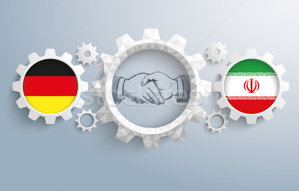 Iran Germany Partnership Gear Handshake Stock photo © limbi007