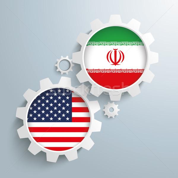 Iran USA versnellingen witte vlaggen Stockfoto © limbi007