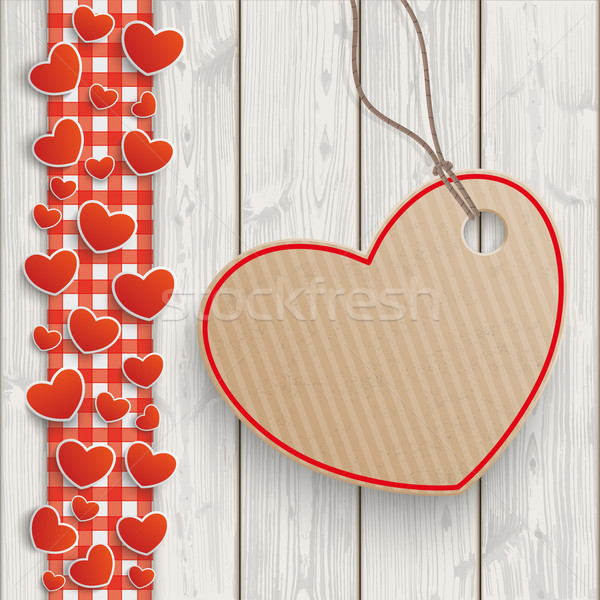 Ahşap kırmızı masa örtüsü kalpler kalp Stok fotoğraf © limbi007